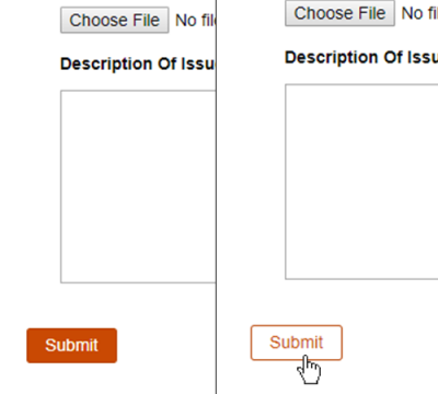 form button unselected and on hover: form reads choose file: No file..., Description of issue, and submit button