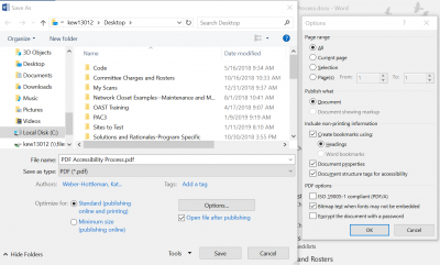 create bookmarks from MS Word document when saving as a PDF