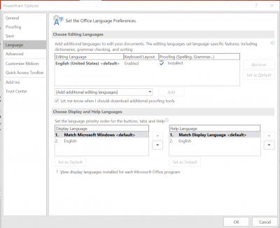 set language preferences for the PowerPoint