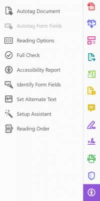 different Adobe PDF tools, including Action Wizard and Accessibility Checker