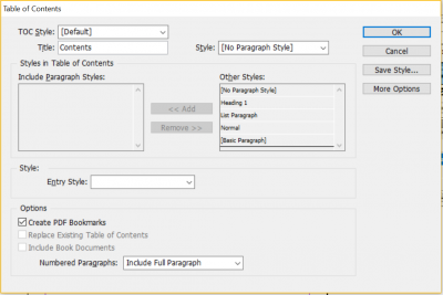 include paragraph styles in table of contents