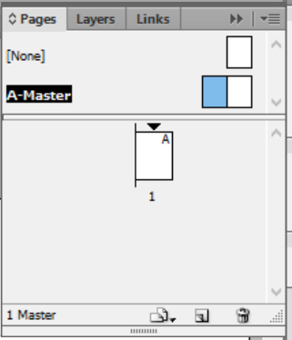 pages panel with master layout