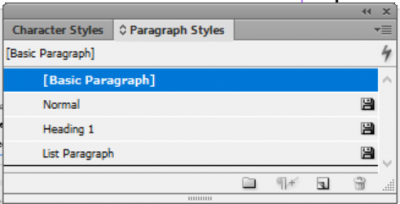 edit or set paragraph styles using the styles panel