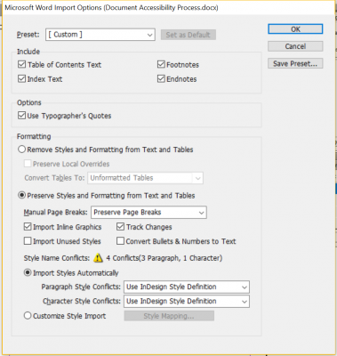 bring text into an InDesign document