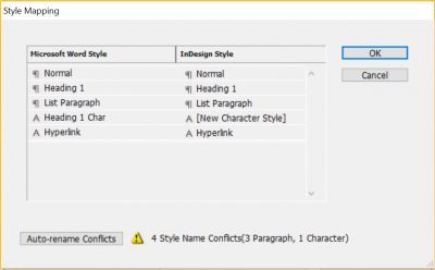 style mapping dialog box