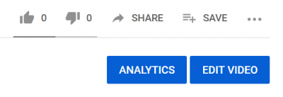 analytics and edit video buttons