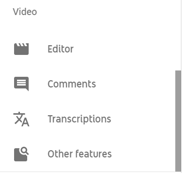 video options: editor, comments, transcriptions, other features