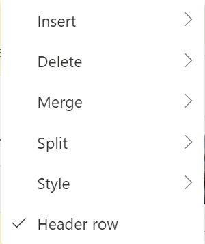 Set table header row in Outlook Office 365