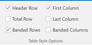 Setting table headers using Table Design