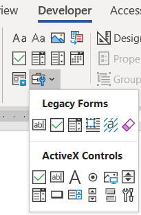 MS Word Developer tab with legacy form field panel opened