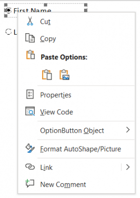 option button properties; use properties to change Caption and GroupName