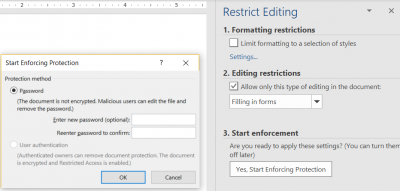 restrict editing so that the user can only fill in form fields; password protecting the document is optional