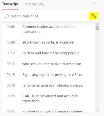 edit transcript icon next to Search transcript bar in Microsoft Stream