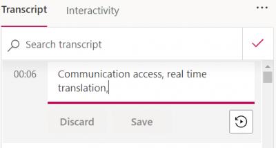 editing transcript in Microsoft Stream